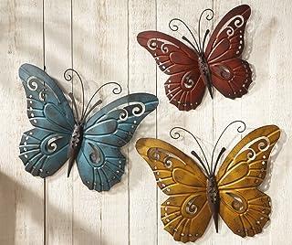 Unbranded Butterfly Trio Metal Inside/Outside Wall Art 3D Decor Garden Yard Porch