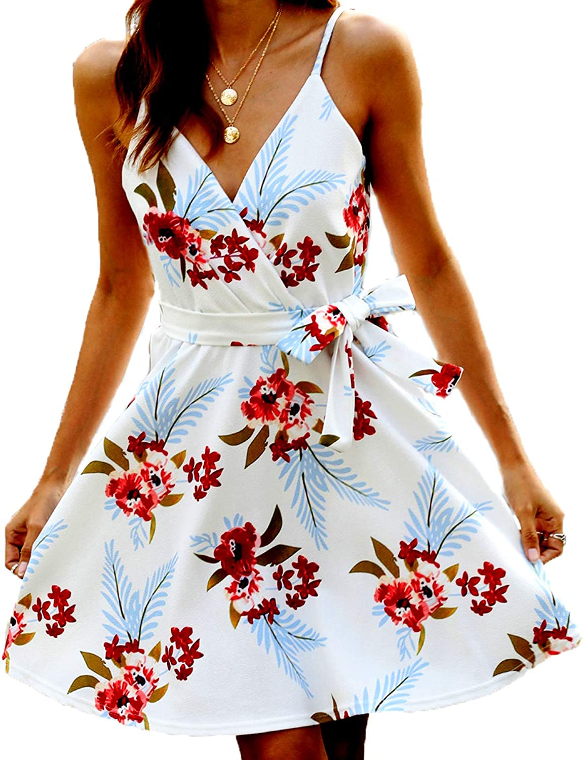 POGTMM Women Summer Ranking TOP8 Dresses Sleeveless V 2021 new Neck Floral Printed Cas
