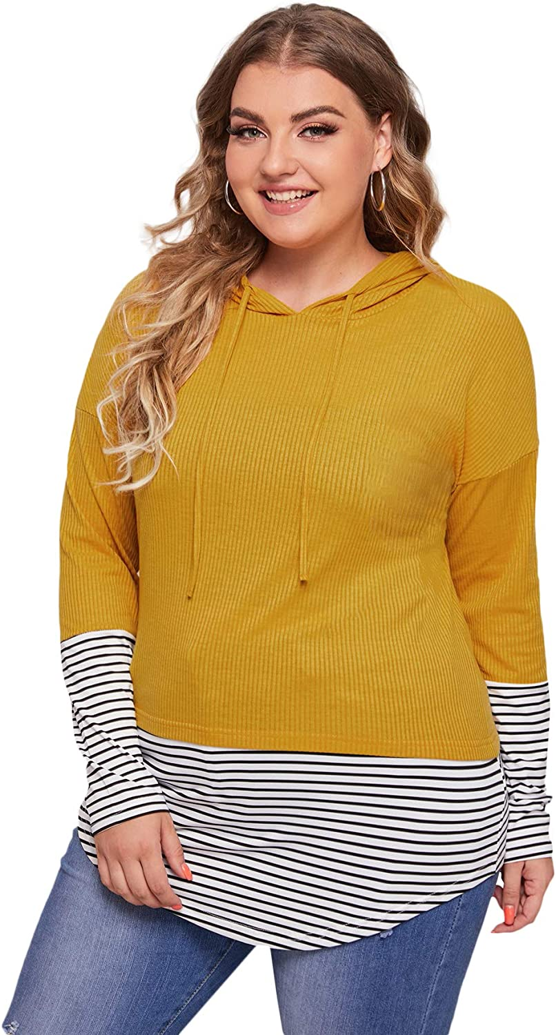 Floerns Women's Plus Size Color Block Striped Pullover Hooded Sweatshirt Top