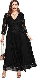 Women's Plus Size High Waist Lace Wrap Maxi Cocktail Party Dress