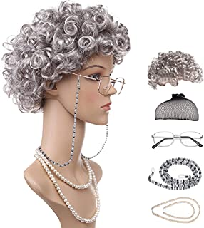 Old Lady Costume Grandmother Wig Cosplay Accessories Set for Dress Up, 6 Pieces