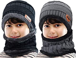Maylisacc Winter Knitted Beanie Hat and Neck Warmer Scarf Set 2 Pcs for Kids Boys Girls