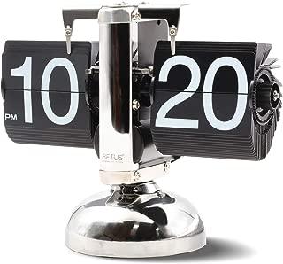 Betus Retro Style Flip Desk Shelf Clock - Classic Mechanical-Digital Display Battery Powered - Home & Office Décor 8 x 6.5 x 3 Inches (Black)