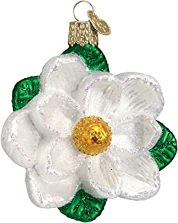 Old World Christmas Glass Blown Ornament with S-Hook and Gift Box, Flower Collection (Magnolia)