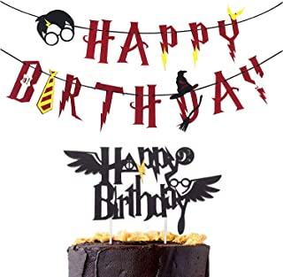 Magic Party Banner, Red Happy Birthday Banner with Cake Topper Garland Party Decoration Wizard Party Supplies Potter Themed Party, 2 PCS