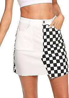 Women's Elegant Mid Waist Above Knee O-Ring Zipper Front Plaid Skirt