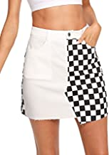 WDIRARA Women's Elegant Mid Waist Above Knee O-Ring Zipper Front Plaid Skirt