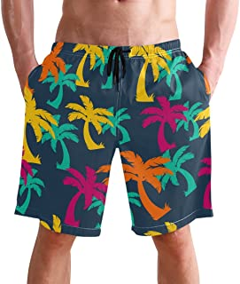 FFY Go Beach Shorts, Palm Hawaiian Printed Mens Trunks Swim Short Quick Dry with Pockets for Summer Surfing Boardshorts Ou...