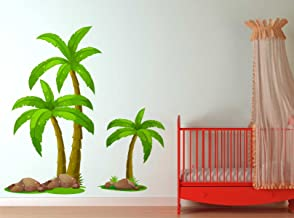 Rawpockets 'Palm Trees Story' Wall Sticker (PVC Vinyl, 80 cm x 80cm)