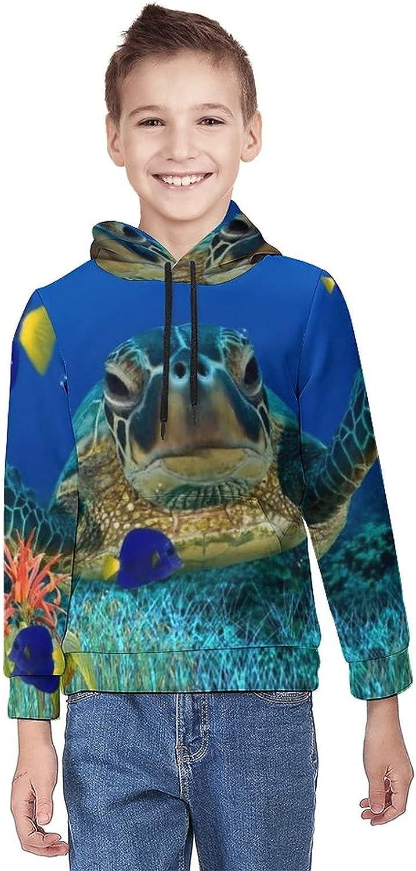 Kimisoy Kids' Hooded Turtle Under Sea Youth Sweatshirt Comfy Hooded Sweatshirt Loose Pull Over Hoodie