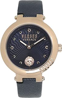 Versus By Versace VSP370817 Womens Lantau Island Rose Gold Blue Leather Strap