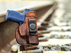 OUTBAGS USA LS2MIL Full Grain Heavy Leather IWB Conceal Carry Gun Holster for Taurus Millennium PT111 9mm, PT140 .40 & PT145 .45 ACP. Handcrafted in USA.