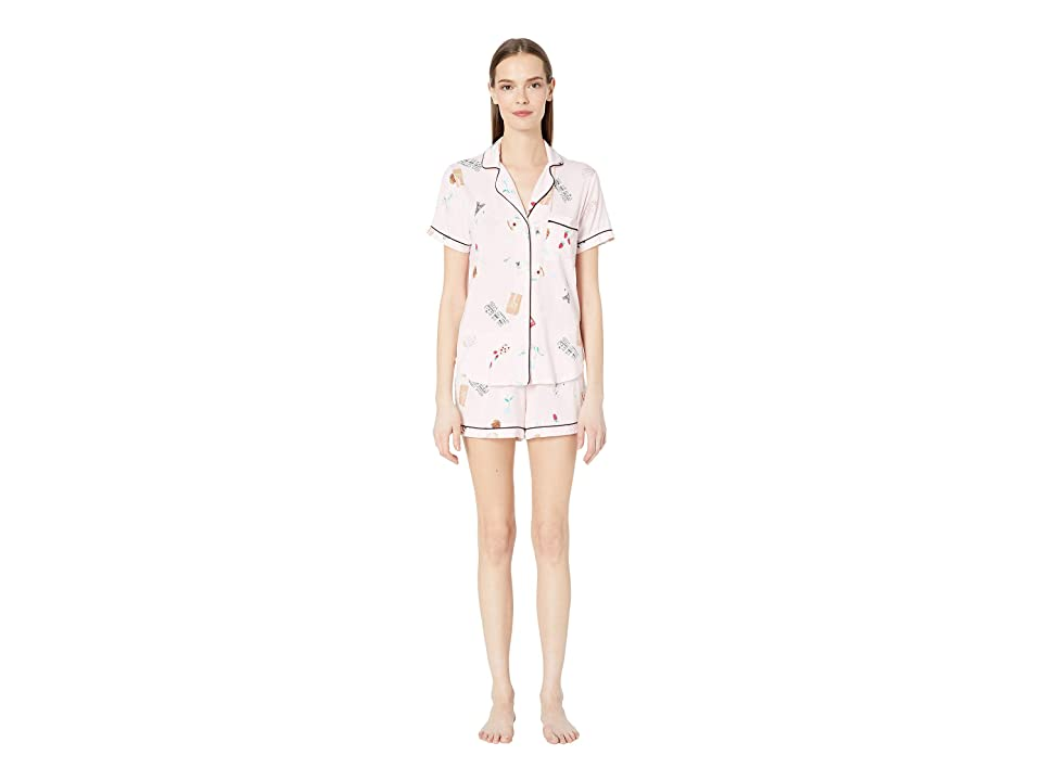 Kate Spade New York Jersey Knit Short Pajama Set (Parisian Breakfast) Women