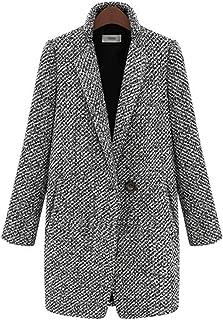 Women's Long Sleeve Linen Outerwear Trench Coat Oversize Lapel One Button Fall Winter Wool Blazer Jacket