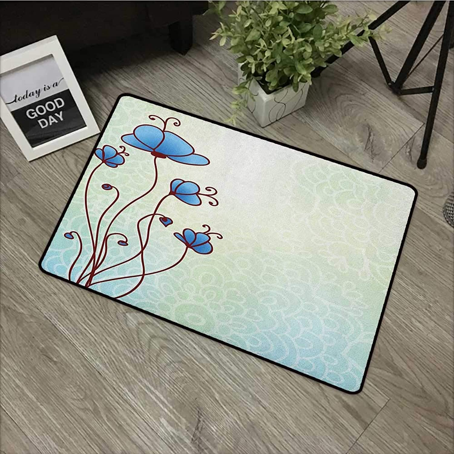 Restaurant mat W35 x L59 INCH Floral,Spring Petal Birthday Celebration Valentines Flourish Beauty Girlish Print, Pale and purple bluee Easy to Clean, Easy to fold,Non-Slip Door Mat Carpet