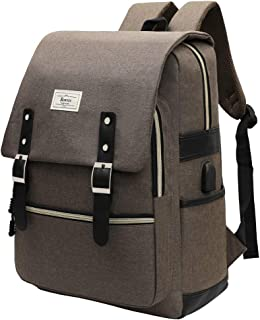 Backpack College School Bag Fashion Rucksack with USB Charging Port Casual Daypacks Fits up to 15.6'' Laptop