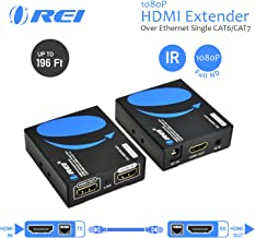 HDMI Extender Over LAN by Orei Single CAT6A/Cat7 Cable Uncompressed 1080P @ 60Hz with IR - Up to 196 ft - Loop Out Function - Digital Full HD, EX-196PRO-K