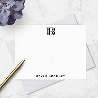 Monogrammed Note Card Boxed Set for Men - Personalized Stationery with Monogram and Name - Choose Envelope & Ink Colors
