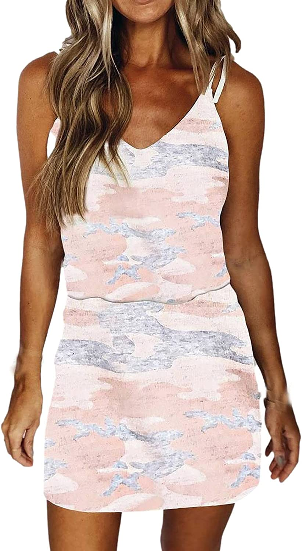 PAPIYON Women's Casual Camo Dress Tie Dye Printing Suspender Dress Sleeveless Backless Skirt Slim Pencil Dress