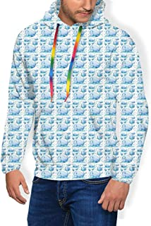GULTMEE Men's Hoodies Sweatershirt,Funny Sea Animal in Different Positions with Water Splashes Childish Mammal Print,5 Size