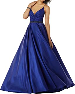 Women's Spaghetti Straps Satin Long Prom Dresses A-line V-Neck Formal Evening Party Gown