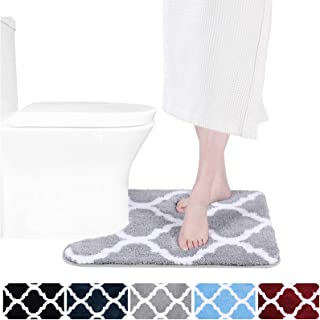 Olanly Luxury Bathroom Rugs Microfiber Oval U-Shaped Contoured Mat for Base of Toilet, Machine Wash and Dry, Non-Slip Absorbent Shaggy Contour Carpet Mats for Bathroom Toilets 20 x 24, Grey
