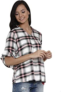Latin Quarters Women Yarn Dyed Check Yarn Dyed 3/4 Sleeve Ruffle Top