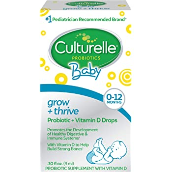 Culturelle Baby Grow + Thrive Probiotics + Vitamin D Drops - 400 IU - Helps Promote a Healthy Immune System & Develop a Healthy Digestive System , 0.3 Fl Oz (Pack of 1) (0049100400532)