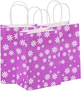 Road 5.25x3.25x8 Inches 100pcs Kraft Paper Bags, Purpel with White Flower Gift Bags, Retail Bag, Merchandise Bag, Party Bag