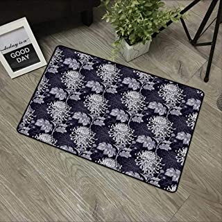 Non-Slip Mat Microfiber Bathroom Rug Shower Mat, Floral,Gothic Flower Bouquet Chrysanthemum Blooming Harvest Ba, Ultra Soft and Water Absorbent Bath Rug,Machine Wash/Dry 20x 31 inches