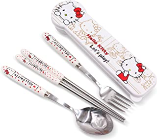 Finex Hello Kitty Chopsticks Spoon Fork 3 pcs Utensils Set with Matching White Case Travel Box Stainless Steel Flatware Dinnerware for school work office picnic camping