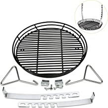 Grisun Adjustable Depth Porcelain Charcoal Ash Basket for Big Green Egg Grill, Kamado Joe Classic, Pit Boss, Louisiana Grills, Primo Kamado Grill, Large Grill Dome, 14 Inches fire grates