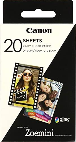 Canon ZP-2030 Papier photo Technologie Z-Ink - Pack de 20 feuilles compatibles ZOEMINI
