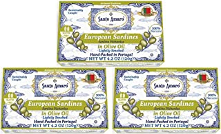 Sponsored Ad - SANTO AMARO European Wild Sardines in Olive Oil (3 Pack, 120g Each) 100% Natural - Wild Caught Canned Sardi...