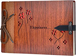 ZEEYUAN Wooden Photo Album Scrapbook DIY Photo Book Wedding Guest-Book 80 Pages Travel Memory Book Birthday Anniversary Valentine's Gift for Mother Father Happiness ZYWOOD