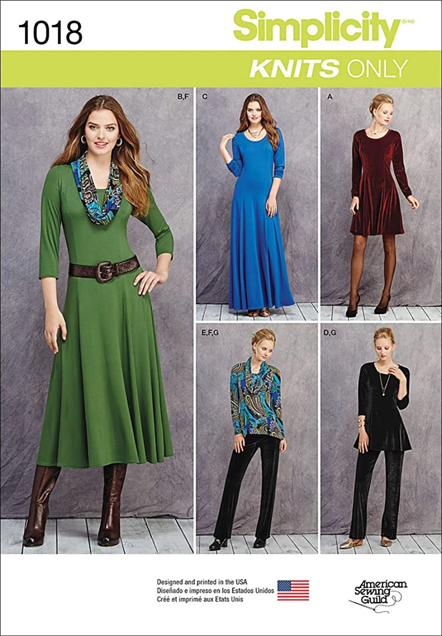 Simplicity Knit Blouse and Maxi Dress Sewing Patterns for Women, Sizes 16-24