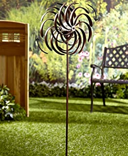 The Lakeside Collection Solar-Powered Garden Spinner - Double Spiral Wind Sculpture for Yards and Patios