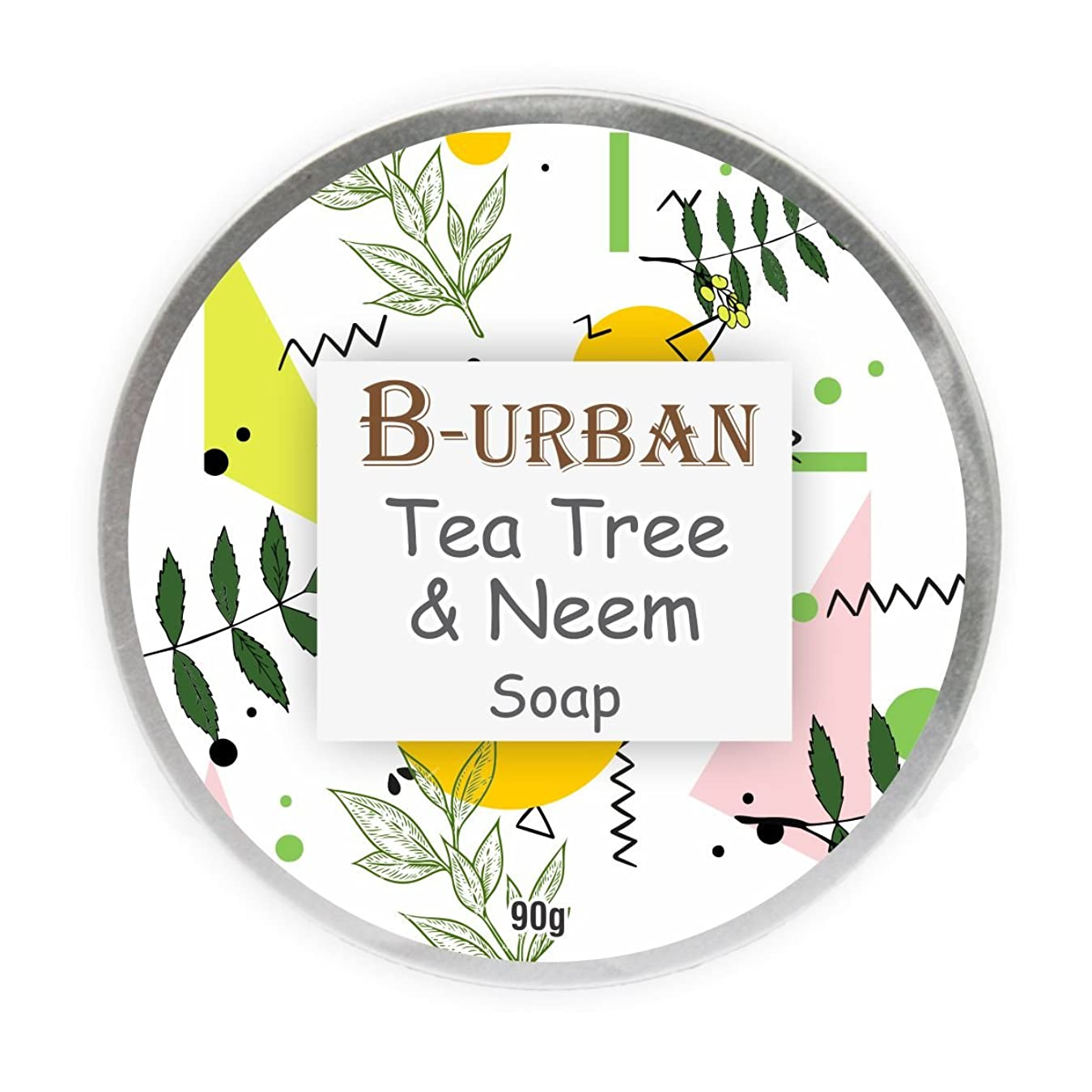 ミニ傑作望むB-Urban Tea Tree And Neem Soap Made With Natural And Organic Ingredients. Paraben And Sulphate Free. Anti Bacterial And Anti Fungal Soap. Treats Acne. Comes In A Unique Aluminium Box Pack