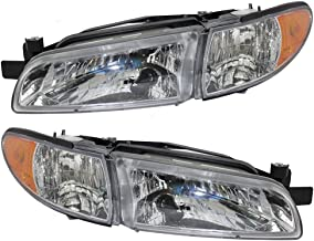 Headlights Headlamps Driver and Passenger Replacements for 97-03 Pontiac Grand Prix 19149891 19149893