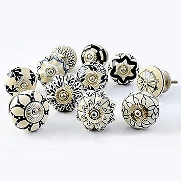 Black Drawer Pulls White /& Grey Kitchen Cabinet Knobs Vintage Style Ceramic Cupboard Door Knobs Dresser Handles