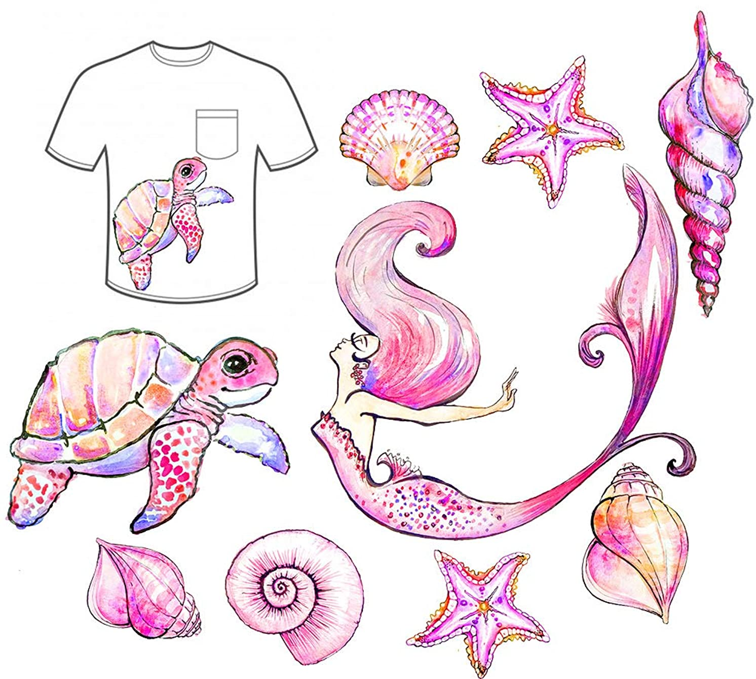 Mermaid Iron-On Transfer Iron Patches Sea Shell Patches Starfish Turtle Iron on Sea Beach Animal Patch Girls Gift DIY Clothes Dress
