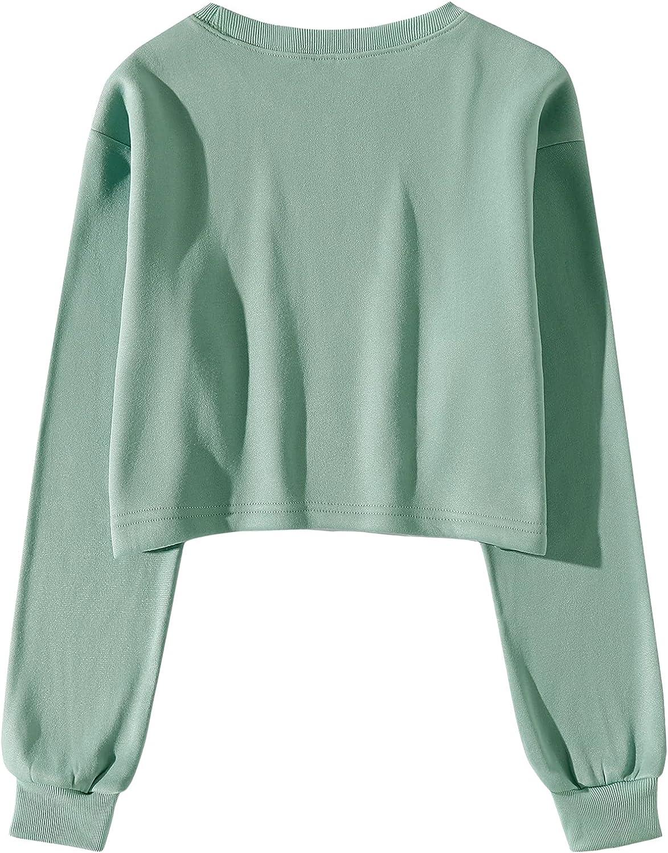 SheIn Women's Casual Colorblock Crew Neck Long Sleeve Crop Pullover Sweatshirts Tops