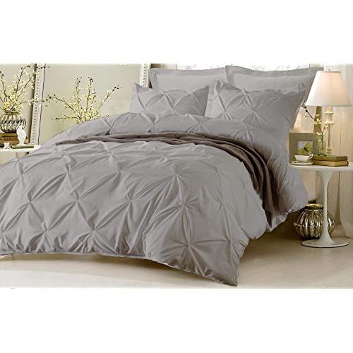 Kotton Culture Pinch Pleated Duvet Cover 100% Egyptian Cotton 600 Thread Count with Zipper & Corner Ties Pintuck Decorative Bedding (Oversized King, Silver)