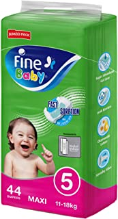 Fine Baby Diapers, DoubleLock Technology , Size 5, Maxi 11–18kg, Jumbo Pack. 44 diaper count
