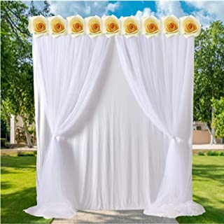 White Tulle Backdrop Curtains for Parties Weddings Baby Shower Birthday Polyester Drape Backdrop Decorations 5ft x 7ft