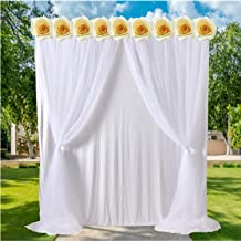 White-Tulle-Backdrop-Curtains for Weddings Baby Shower Birthday Parties 5x7 Photo Backdrop Party Decorations