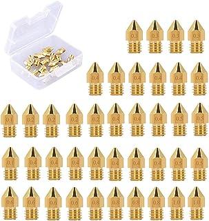 Electomania 40Pcs 3D Printer Nozzles,Extruder Nozzles,Ender 3 Nozzle,0.1mm, 0.2mm, 0.3mm, 0.4mm, 0.5mm, 0.6mm, 0.8mm, 1.0m...