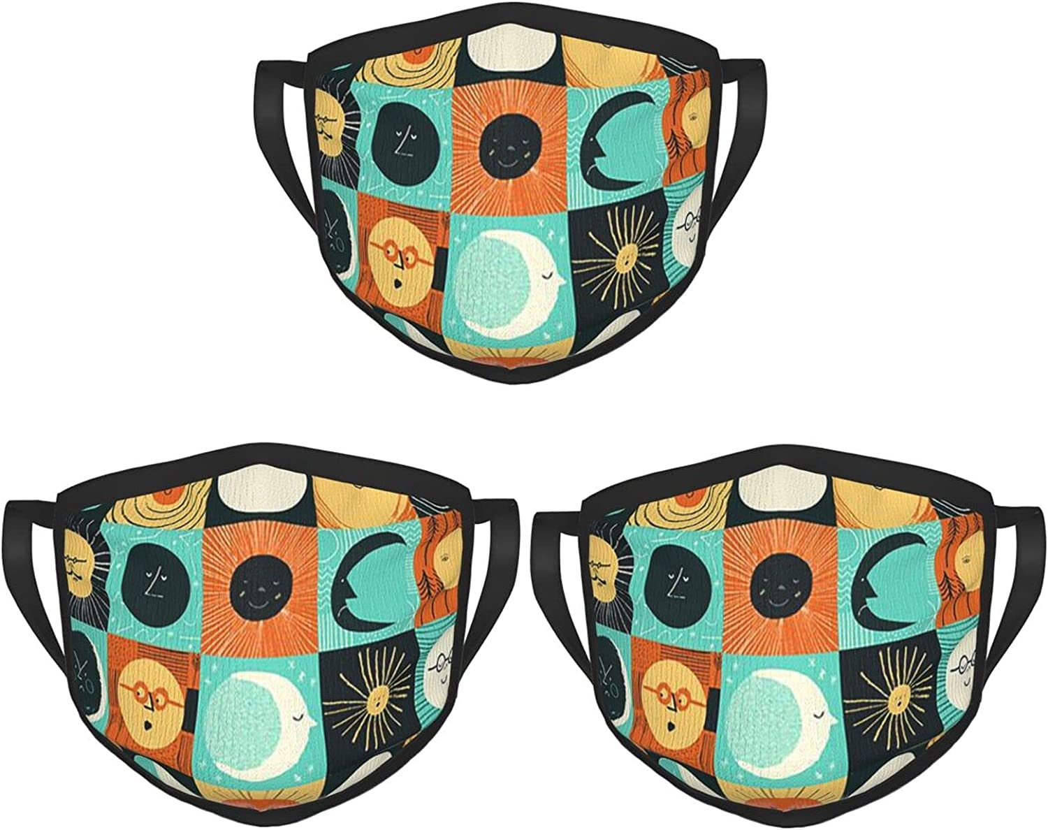 Balaclava Earmuffs Suns Retro Surf Moon Face Mouth Cover Mask Reusable Windproof Scarf Towel Cover Headwrap