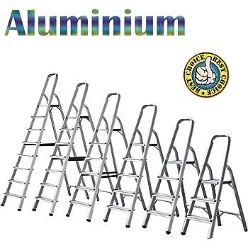 Escalera de aluminio ligera plegable portátil, capacidad máxima de 150 kg, 110 cm a 210 cm de altura, 3 a 8 peldaños (3 peldaños, 110 cm): Amazon.es: Bricolaje y herramientas