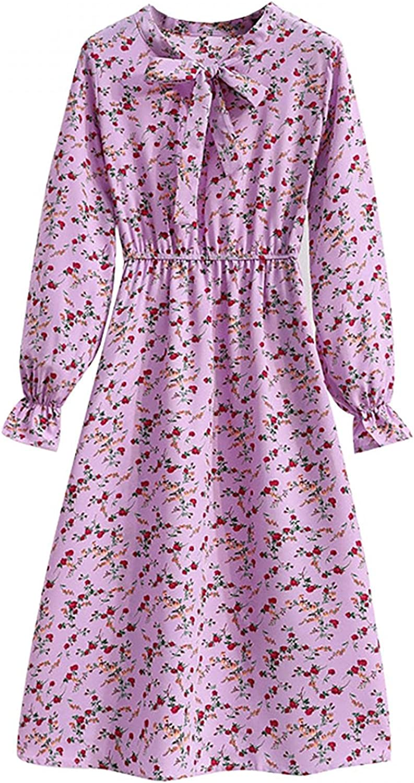 SUIQU Ladies Fall & Winter Bottoming Dress Casual Long Sleeve Slim Bowknot Elastic Waist Print Tshirt Dresses for Women